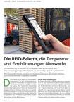 Die RFID-Palette, die Temperatur und Erschütterungen überwacht