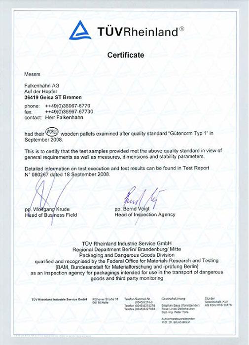 Certificates - WORLD Pallet by Falkenhahn AG - Euro ...